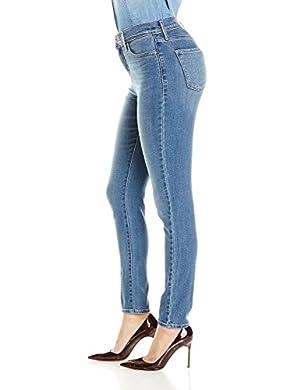 Women Light Blue Carter Center Logo Super Skinny Jeans Small