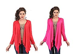 Bfly Combo of Pink & Red Long Shrugs