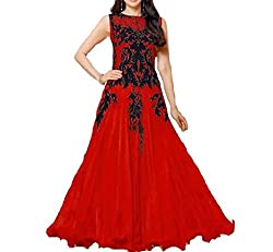 Arati Creation Women's Georgette Unstitched Dress Material (XYZ6_Red_Free Size)