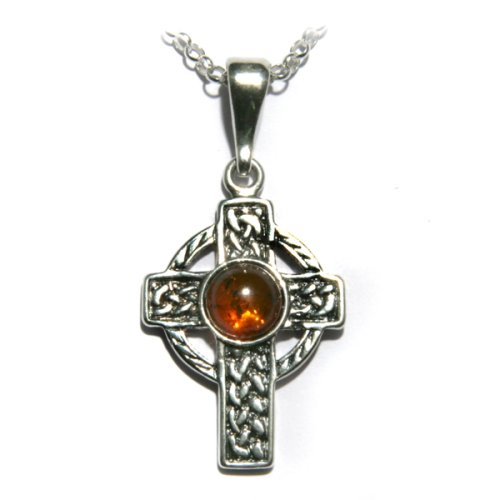 Certified Genuine Honey Amber and Sterling Silver Celtic Cross Pendant on Italian Sterling Silver Rolo Chain, 18