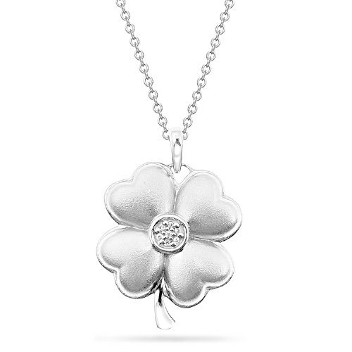 Women's Sterling Silver Diamond Clover Pendant Necklace (0.02 cttw, I-J Color, I2 Clarity), 18
