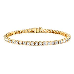 18k Yellow Gold Round Cut Diamond Tennis Link Bracelet 4-Prong (2 1/2 cttw, G-H Color, VS2-SI1 Clarity)