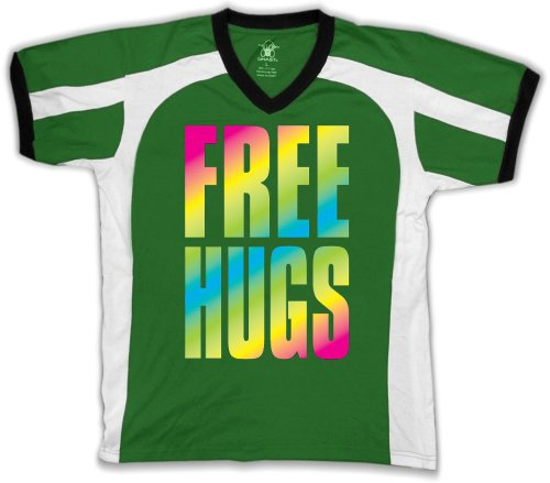 Oversized Rainbow Free Hugso Mens Sports T-shirt, Big and Bold Neon Free Hugs Men's Sport Shirt,  Kelly/White/Black