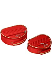 Kuber Industries™ Bridal Vanty Box,Cosmetic Organiser,Make Up Kit,Multi Purpose Kit Set Of 2 Pcs Red (KI19622)