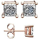 18K Rose Gold Plated 2.00 Carat Cubic Zirconia Stud Earrings