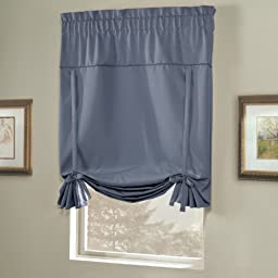 United Curtain Blackstone Blackout Tie Up Shade, 40 by 63-Inch, Blue
