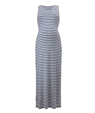 Maternity Blue & Grey Stripe Jersey Tube Dress