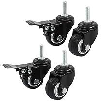 Uxcell Shopping Wheel Trolley Brake Swivel Caster, 1.5-Inch, Black, 4-Piece