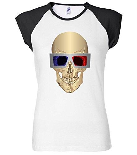 Skull 3D Glasses Women's Raglan T-Shirt