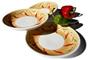 Caleca Chili Peppers 4-Piece Soup Plate Set