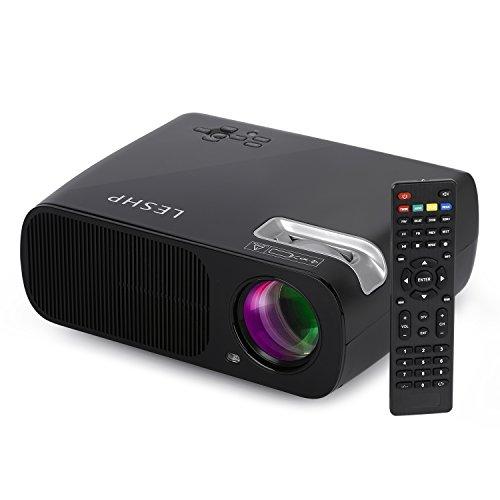 Vidéoprojecteur LESHP Projecteur BL20-Advanced Vidéoprojecteur HD LED Projecteur 3200 LM(Max) 800x480 Résolution, 2000:1 Contraste Cinéma Maison Théâtral Support USB/HDMI/TV ou DTV/AV/YPBPR/VGA/Audio Input Douille EU (Noir)