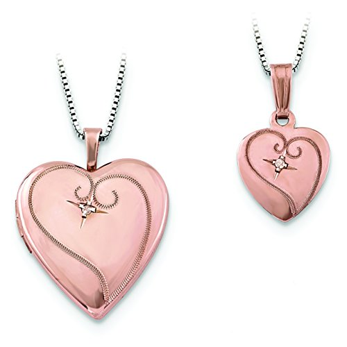 Sterling Silver Rose Gold-Plated Diamond Polished Heart Locket & Pendant Se