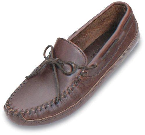 Men's Minnetonka Moccasins Lariat Leather Double Bottom Softsole Moc Dark