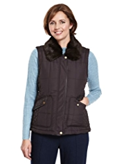 Classic Faux Fur Collar Quilted Gilet with Stormwear™