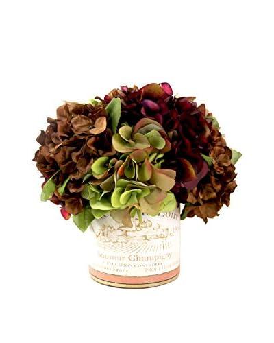 Creative Displays Mixed Hydrangea Vineyard Pot, Burgundy/Brown/Green