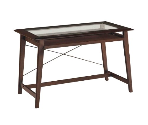 Buy Low Price Comfortable OSP Designs Fenton Computer Desk In Merlot Finish with Glass Desk Top (B00292BQWI)