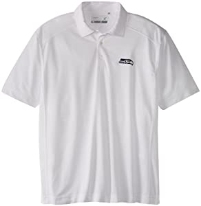 NFL Seattle Seahawks Mens Drytec Genre Polo Knit Short Sleeve Top, White by Cutter & Buck