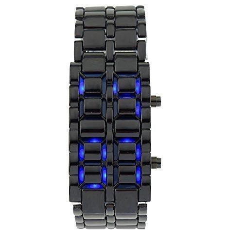 Mightyhand Men's Waterproof Lava BLACK Stainless Steel Samurai Faceless Volcanic BLUE LED Digital Bracelet Watch