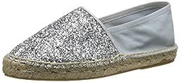 Dune London Women\'s Glitta Moccasin, Silver Glitter, 40 EU/9 M US