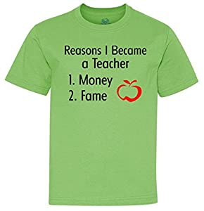 Reasons I Became A Teacher Funny Youth T-Shirt limegreen Medium (10-12)