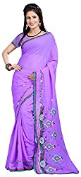 Shree Creation Women's Georgette Saree with Blouse Piece (Purple)