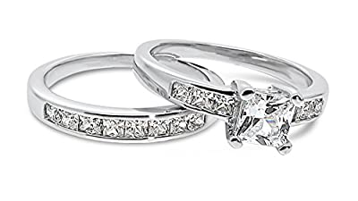 925 Sterling Silver UK Hallmarked 1ct Princess Cut Lab Diamond Solitaire Eternity 2pc Wedding Engagement Ladies Ring Bands Set