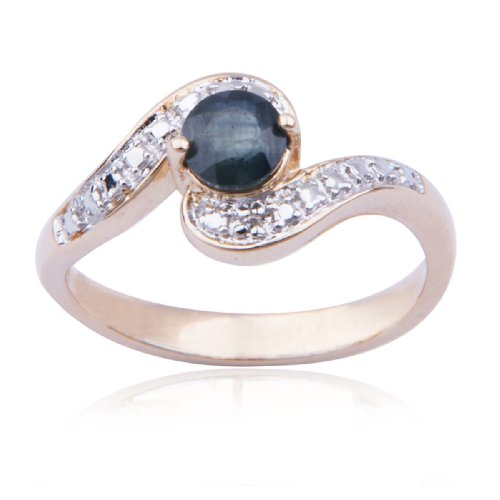 18k Yellow Gold Plated Sterling Silver Sapphire and Diamond-Accent Ring, Size 7
