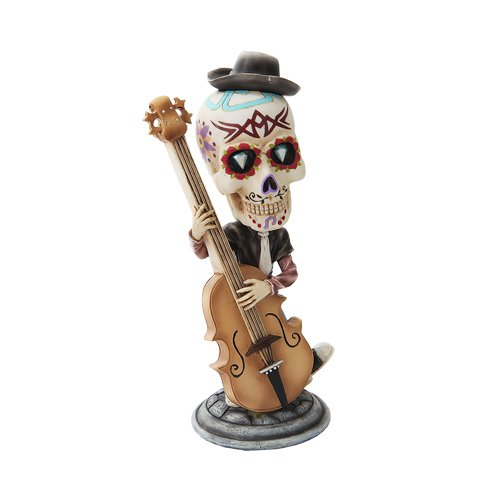 DAY OF THE DEAD BOBBLEHEAD DOUBLE BASS PLAYER SKELETON FIGURINE