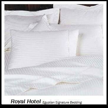 Royal Hotel'S Striped White 600-Thread-Count 4Pc Full Bed Sheet Set 100-Percent Egyptian Cotton, Sateen Striped, Deep Pocket front-1013875