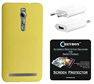 Chevron Back Cover Case for Asus Zenfone 2 Deluxe ZE551ML with HD Screen Guard & USB Mobile Wall Charger (Yellow)