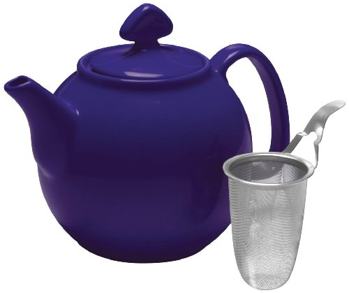 Chantal Tea For Couples Teapot With Stainless Steel Infuser, 1-Quart Capacity, Indigo Blue