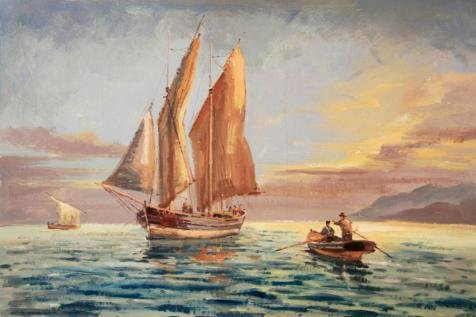 Oil Painting 'Boats On The Sea', 24 x 36 inch / 61 x 92 cm , on High Definition HD canvas prints is for Gifts And Basement, Laundry Room And Living Room Decoration, create wall (Cheetah Print Lip Tattoos)