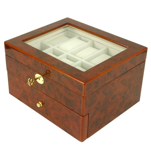 Luxury Watch Box Storage Case for 20 Watches Burlwood Finish Glass Window Lock Key Tassel
