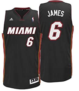 NBA Miami Heat LeBron James Swingman Jersey, Black by adidas