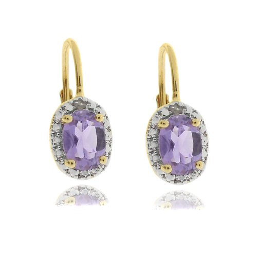 18k Gold Overlay Diamond Accent Amethyst February Birthstone Leverback Earrings