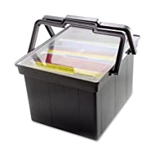 Advantus Companion Letter/Legal Portable Plastic File Box, Includes Lid and Handles, 17 x 14 x 11 Inches, Black (AVTTLF-2B)