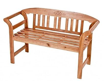 Gartenbank 2-Sitzer mit Rose, Akazie FSC-Holz geölt