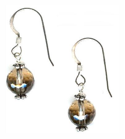 Sterling Silver Faceted Smokey Quartz Dangle Earrings