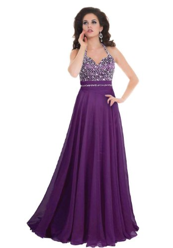 Faironly Women'S Purple Halter Formal Evening Prom Dress Gb1 (M, Purple)