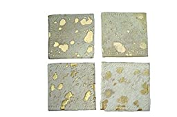 Trophy Room Stuff Cowhide Square Coasters, Gold