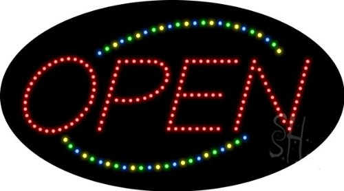 """Open Closed Animated Outdoor Led Sign 15"""" Tall X 27"""" Wide X 3.5"""" Deep"""