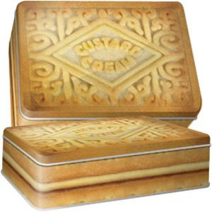 Retro Custard Cream Rectangle Biscuit/Cake Tin.