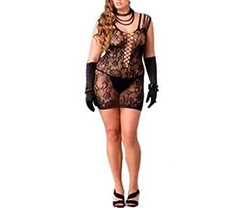 """Antemi - Lingeries - Nuisette sexy dentelle et lacet """"Samba"""" - Noir - Taille XL"""