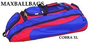Red & Royal Blue Cobra XL Softball Baseball Catchers Bat Equipment Roller Bag by MAXOPS