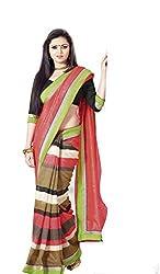 Nistula Stripe Printed Border Work Bhagalpuri Saree With Black Unstitched Blouse Material [Peach] | Lavanya25009
