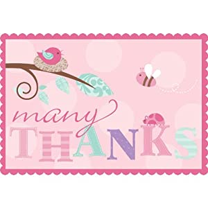 Tweet Baby Thank You Notes (8) Note Card Pink Girl Shower Bird Chick Party
