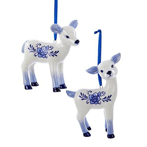 Kurt Adler Porcelain Delft Blue Deer Christmas Tree Ornaments