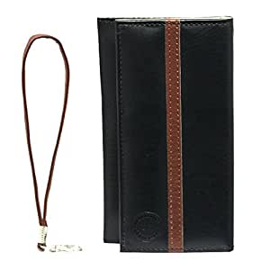 Jo Jo A5 S Series Leather Wallet Universal Pouch Cover Case For iBall Andi4 B2 IPS Black Dark Brown