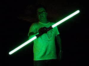 GREEN Double Ended Lightsaber Light Sabre Jedi Laser Sword - Sound Effect Glowing Laser Sword Toy from GlowGadgets for Kids Parties, Clubbing, Raves, Festivals and Lovers of Science Fiction.