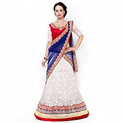 Suchi Fashion Cream Net Embroidered Circular Lehenga Choli